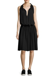 Theory Ritah Classic Georgette Sleeveless Smocked-Waist Dress