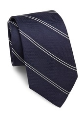 Theory Roadster Striped & Textured Raw-Silk Tie