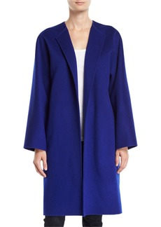 Theory Round-Neck Open-Front New Divide Wool-Cashmere Coat