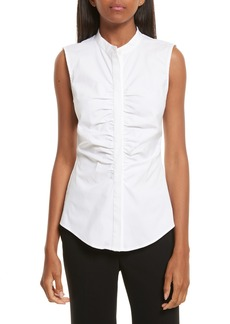 Theory Ruched Fitted Stretch Cotton Blouse