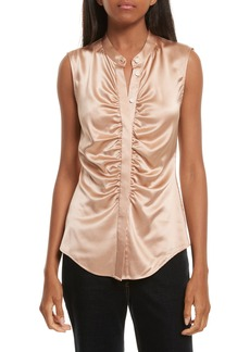 Theory Ruched Fitted Stretch Silk Blouse