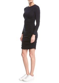 Theory Ruched Jersey Long-Sleeve Mini Dress