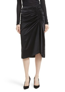 Theory Ruched Stretch Satin Skirt