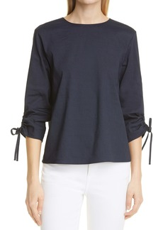 Theory Ruched Tie Sleeve Linen Blend Blouse
