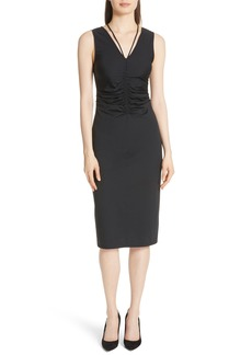 Theory Ruched Tie Travel Midi Dress