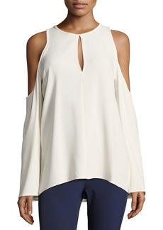 Theory Sarver Rosina Crepe Cold-Shoulder Top
