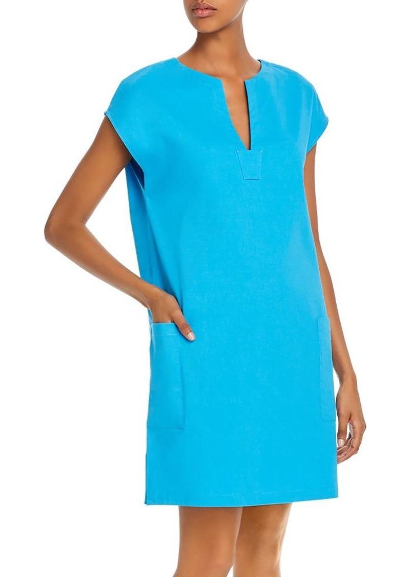 Theory Saturnina Eco Crunch Wash Linen-Blend Shift Dress