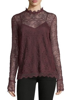 Theory Scalloped Long-Sleeve Lace Top