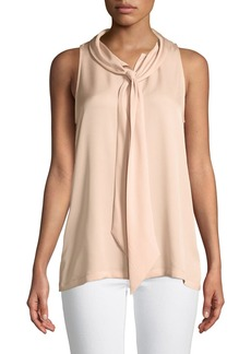 Theory Scarf-Neck Sleeveless Silk Blouse
