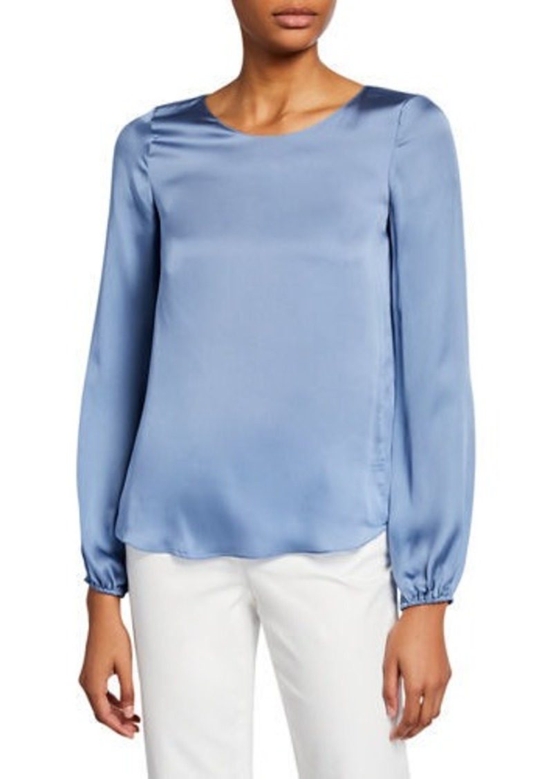 Theory Scoop-Neck Blouson-Sleeve Silk Shirt