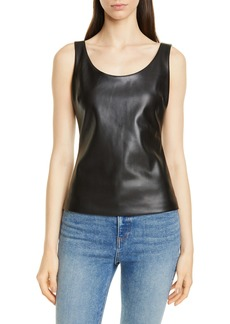 Theory Scoop Neck Faux Leather Tank Top