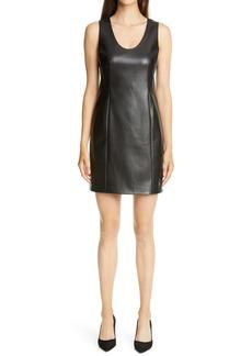Theory Sculpt U Sleeveless Faux Leather Minidress