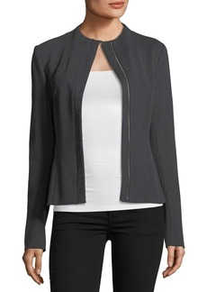 Theory Sculpted Knit Zip-Front Twill Jacket