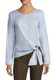 Theory Serah Stretch-Cotton Tie-Front Top