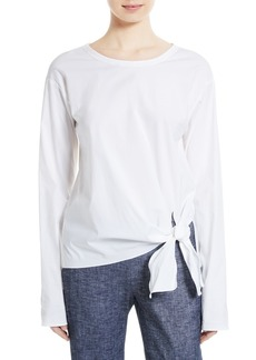 Theory Serah Stretch Cotton Tie Front Top