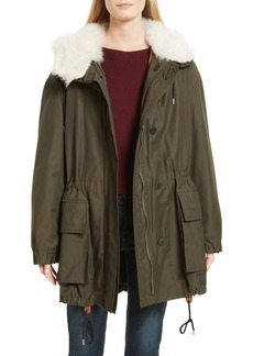 Theory Sharya Technical Crisp Genuine Shearling Trim Parka