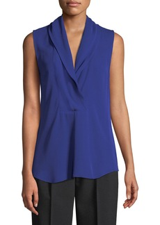 Theory Shawl-Collar Classic Silk Georgette Shell