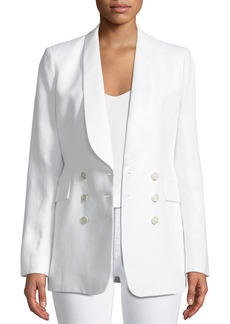 Theory Shawl-Collar Double-Breasted Integrate Linen Blazer