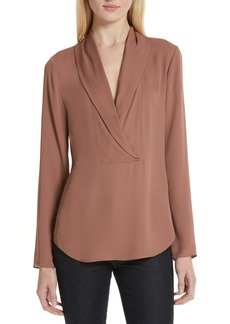 Theory Shawl Collar Silk Blouse