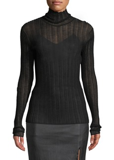 Theory Sheer Fitted Wool Turtleneck Sweater