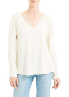 Theory Shirred Shoulder Silk Top