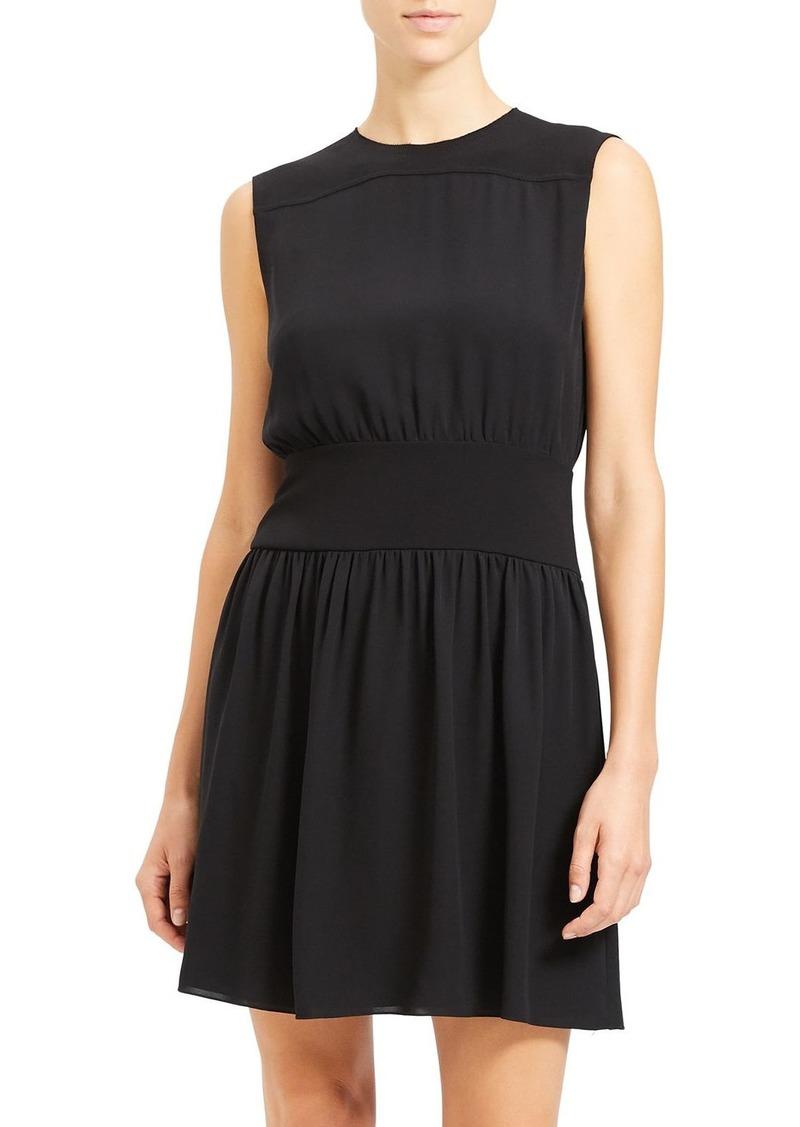 Theory Shirred Silk Dress