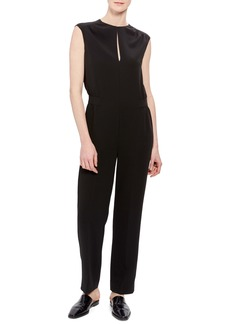 Theory Shirred Sleeveless Crepe Jumpsuit