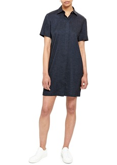 Theory Short-Sleeve Button-Down Shirtdress