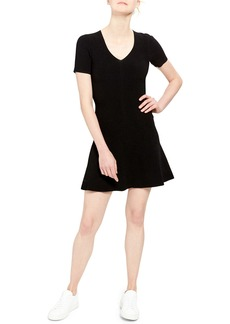Theory Short-Sleeve Mini Fit-&-Flare Dress
