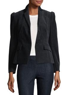 Theory Shrunken Button-Front Velvet Denim Jacket