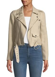 Theory Shrunken Integrate Linen Moto Jacket