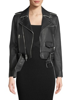 Theory Shrunken Lamb Leather Moto Jacket w/ Painted Edge