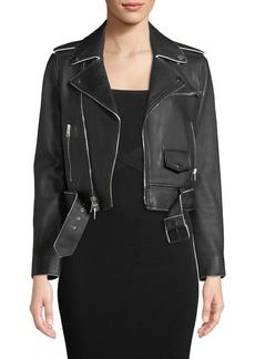 Theory Shrunken Lamb Leather Moto Jacket w/ Painted Edge