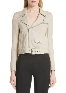 Theory Shrunken Linen Moto Jacket