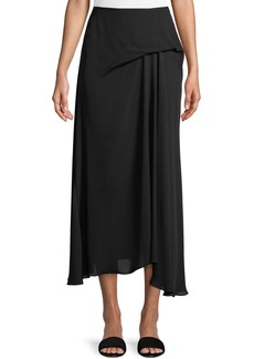 Theory Side-Drape Classic Silk Georgette Midi Skirt