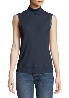 Theory Silk Bias Turtleneck Sleeveless Top