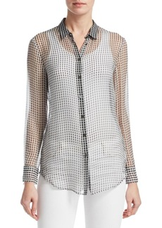Theory Silk Button-Front Blouse