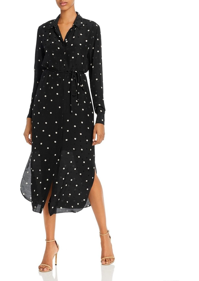 Theory Silk Polka Dot Belted Shirtdress
