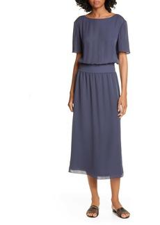 Theory Silk Rib Waist Midi Dress
