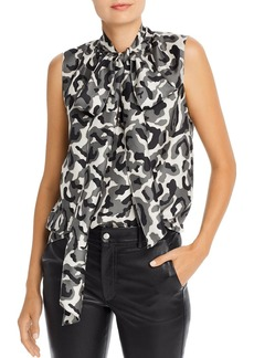 Theory Camouflage Silk Tie-Neck Sleeveless Blouse