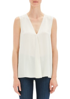 Theory Silk V-Neck Draped-Front A-Line Top