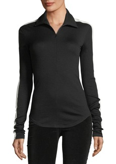 Theory Ski Zip-Front Wool-Knit Top