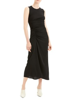 Theory Sleeveless Ruched Silk Blend Midi Dress