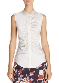 Theory Sleeveless Ruched Silk Top