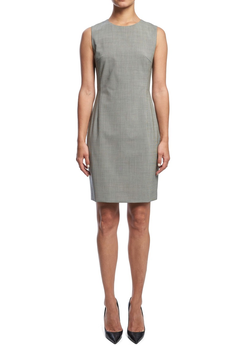 Theory Sleeveless Seam Fitted Stretch Wool Dress