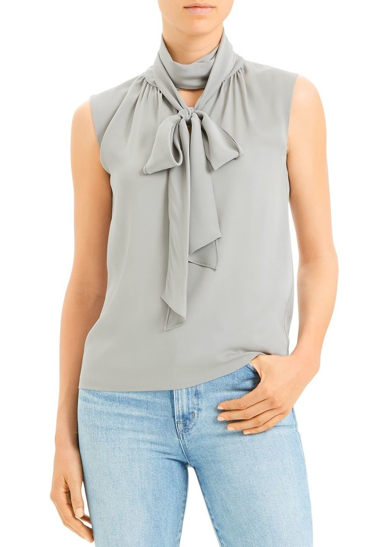 Theory Sleeveless Tie-Neck Silk Blend Top