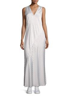 Theory Sleeveless V-Neck Crushed Satin Striped Slip Dress