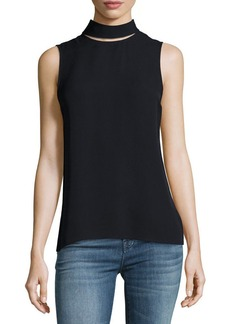 Theory Slit-Collar Sleeveless Georgette Top