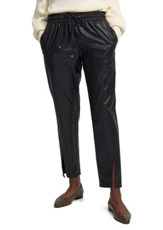Theory Slit Cuff Faux Leather Pull-On Pants
