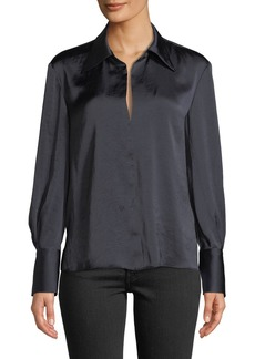 Theory Split-Collar Crushed Satin Long-Sleeve Top